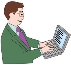 PC操作中の男性